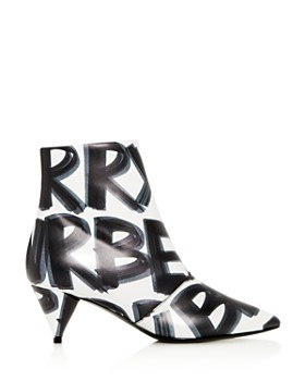 Burberry - Women's Wilsbeck Graffiti Logo Print Leather Mid-Heel Booties