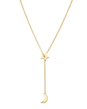 Zoë Chicco - 14K Yellow Gold Midi Bitty Sliding Star & Moon Lariat Necklace, 27.5""