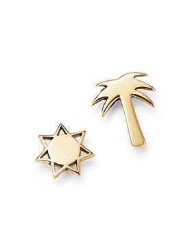 Zoë Chicco - 14K Yellow Gold Itty Bitty Palm Tree & Sun Mixed Stud Earrings