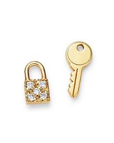 Zoë Chicco - 14K Yellow Gold Itty Bitty Key & Pavé Diamond Padlock Mixed Stud Earrings