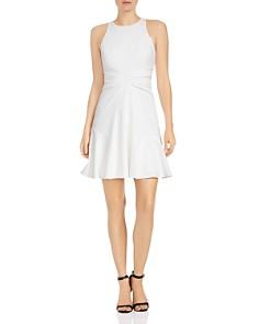 HALSTON HERITAGE - Ruched Crepe A-line Mini Dress