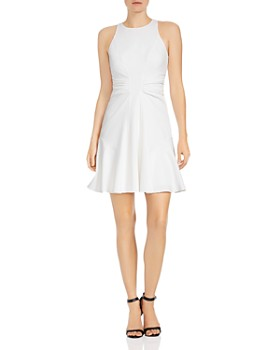 HALSTON HERITAGE - Ruched Crepe A-line Mini Dress