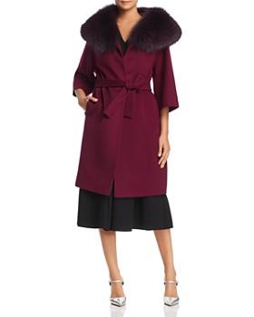 Maximilian Furs - Fleurette Belted Fox Fur Collar Wool Coat