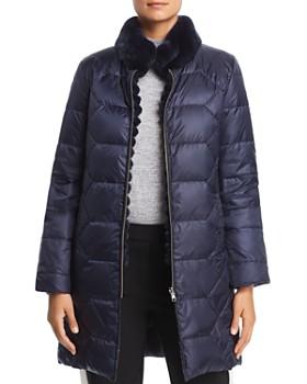 Maximilian Furs - Rabbit Fur Trim Reversible Down Coat- 100% Exclusive