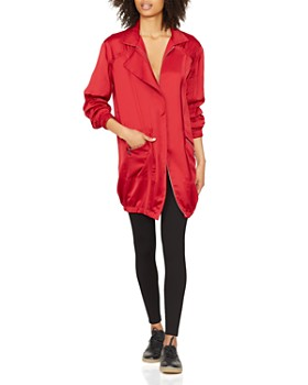 HALSTON HERITAGE - Satin Shirt Dress