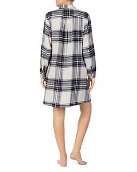 Donna Karan - Long-Sleeve Short Plaid Sleepshirt