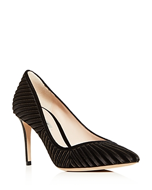 Giorgio Armani Women's Decolette Velvet & Satin Stripe Pointed Toe Pumps