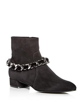 Casadei - Women's Ilary Velvet-Embellished Chain Suede Booties