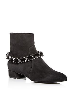 Casadei Women's Ilary Velvet-Embellished Chain Suede Booties