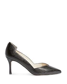 KAREN MILLEN - Women's Court Snakeskin-Embossed Leather High-Heel Pumps