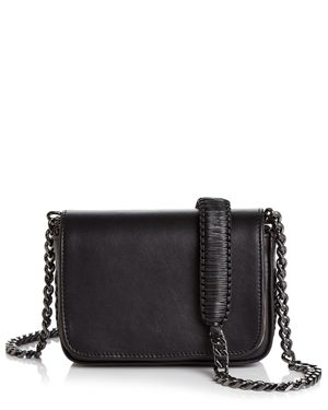 CALLISTA Grace Mini Leather Shoulder Bag in Meteorite Black/Gunmetal