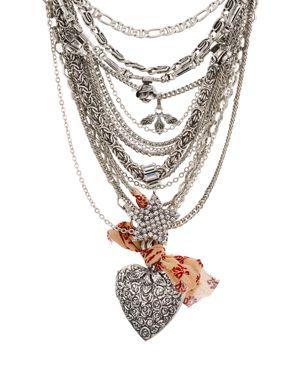 Dannijo Zinnia Heart Locket Statement Layered Necklace, 20
