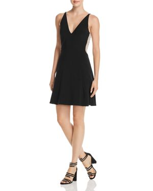 AVERY G BEADED MESH-BACK FIT-AND-FLARE DRESS