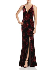 AQUA - Floral Print Velvet V-Neck Gown  - 100% Exclusive