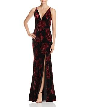 AQUA - Floral Print Velvet V-Neck Gown  - 100% Exclusive