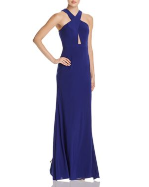 AVERY G AQUA CROSS-FRONT OPEN-BACK GOWN - 100% EXCLUSIVE