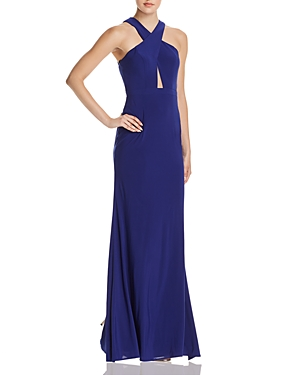 Aqua Cross-Front Open-Back Gown - 100% Exclusive