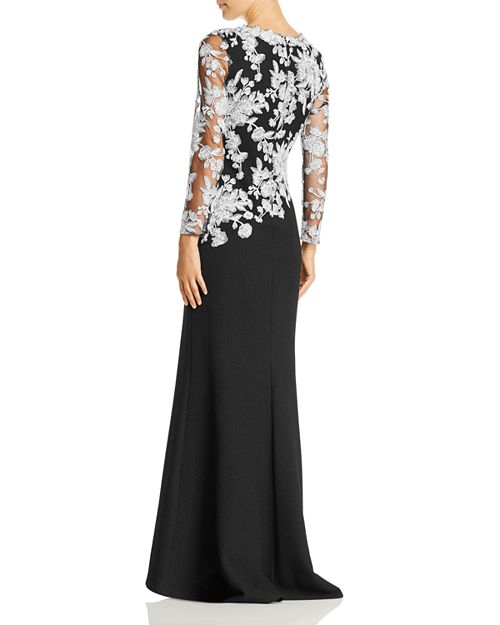 Tadashi Shoji Embroidered-Bodice Crepe Gown | Bloomingdale\'s
