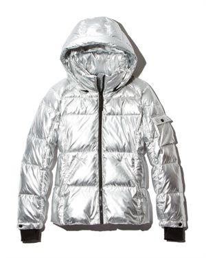 METALLIC HOODED PUFFER JACKET - 100% EXCLUSIVE
