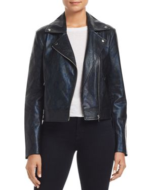 BAGATELLE Snake-Print Faux Leather Biker Jacket in Black