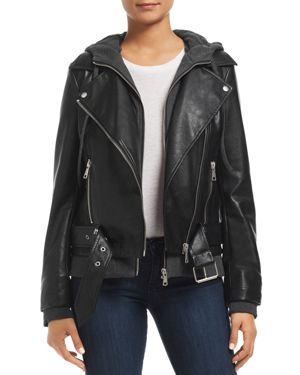 BAGATELLE Layered-Look Faux-Leather Moto Jacket in Black