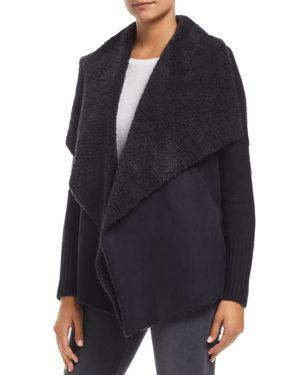 BAGATELLE Draped Faux-Shearling Sweater Jacket in Navy