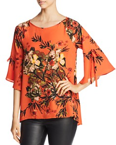 Status by Chenault -  Flutter-Sleeve Floral Print Top