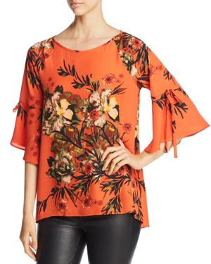STATUS BY CHENAULT Status By Chenault Flutter-Sleeve Floral Print Top in Rust
