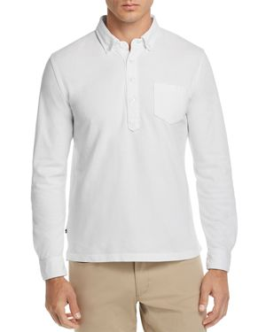 OOBE Charleston Long-Sleeve Button-Down Polo Shirt in White
