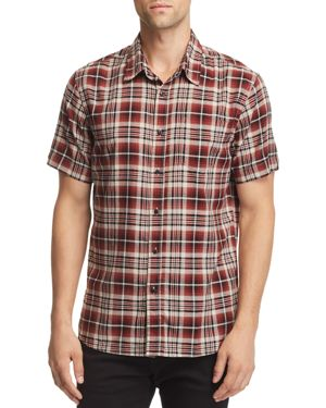 JACHS NY Plaid Short-Sleeve Regular Fit Shirt - 100% Exclusive in Rust/Gray