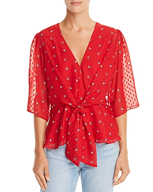 Wayf Amora Tie-Front Floral Print Top
