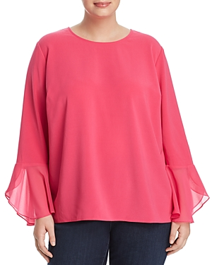 Vince Camuto Plus Chiffon Flutter-Cuff Top