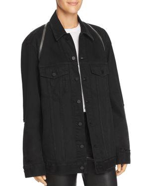 Alexanderwang.T Daze Zip Distressed Denim Jacket In Black Destroy
