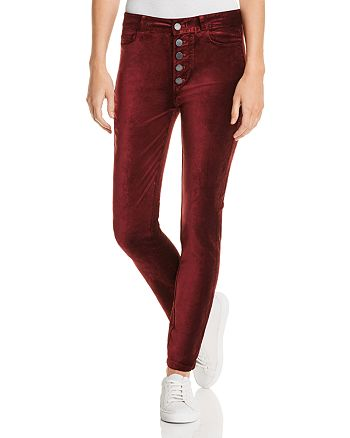 PAIGE - Hoxton Velvet Button Fly Ankle Jeans in Dark Currant