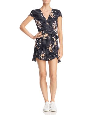 LOST AND WANDER Lost + Wander Catalina Printed Faux-Wrap Mini Dress in Navy Multi