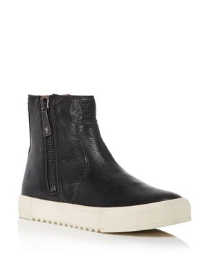 Women'S Gia Side Zip Leather High Top Sneakers, Black