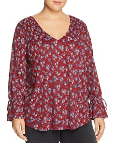 Lucky Brand Plus - Smocked Floral-Print Top