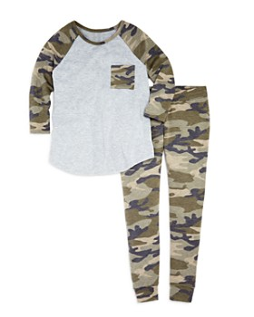 AQUA - Girls' Camo-Print Raglan Tee & Jogger Pants, Big Kid - 100% Exclusive