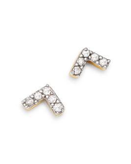Adina Reyter - 14K Yellow Gold Pavé Diamond Super Tiny V Stud Earrings