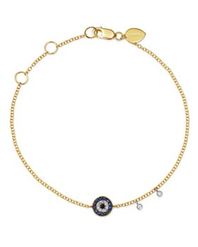 Meira T - 14K Yellow Gold & 14K White Gold Blue Sapphire & Diamond Evil Eye Bracelet