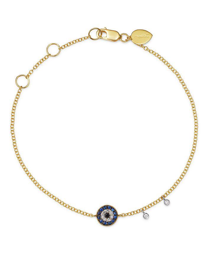 Meira T - 14K Yellow Gold & 14K White Gold Blue Sapphire & Diamond Evil Eye Bracelet