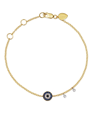 Meira T 14K Yellow Gold & 14K White Gold Blue Sapphire & Diamond Evil Eye Bracelet