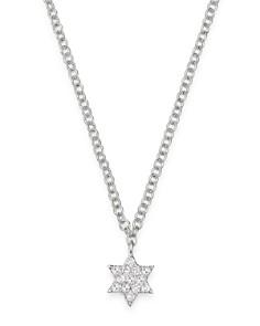 "Meira T - 14K White Gold Diamond Star of David Adjustable Pendant Necklace, 18"""