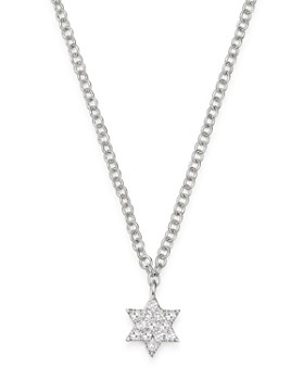 Meira T - 14K White Gold Diamond Star of David Adjustable Pendant Necklace, 18""