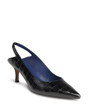Whistles - Women's Clare Pointed Toe Croc-Embossed Leather Slingback Pumps