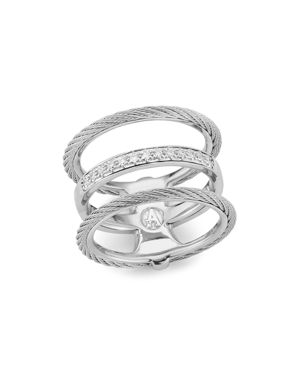 ALOR CABLE RING WITH DIAMONDS