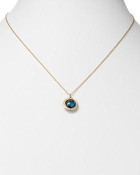 "IPPOLITA - 18K Yellow Gold Lollipop London Blue Topaz & Pavé Diamond Adjustable Mini Pendant Necklace, 18"""