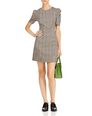 Amanda Uprichard - Westwick Puff-Sleeve Plaid Dress