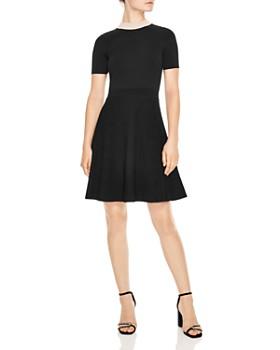 Sandro - Luigi Embellished Collar & Ribbed Skirt Dress