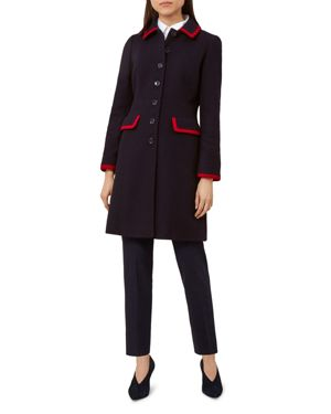 Elle Tipped Coat, Navy Red